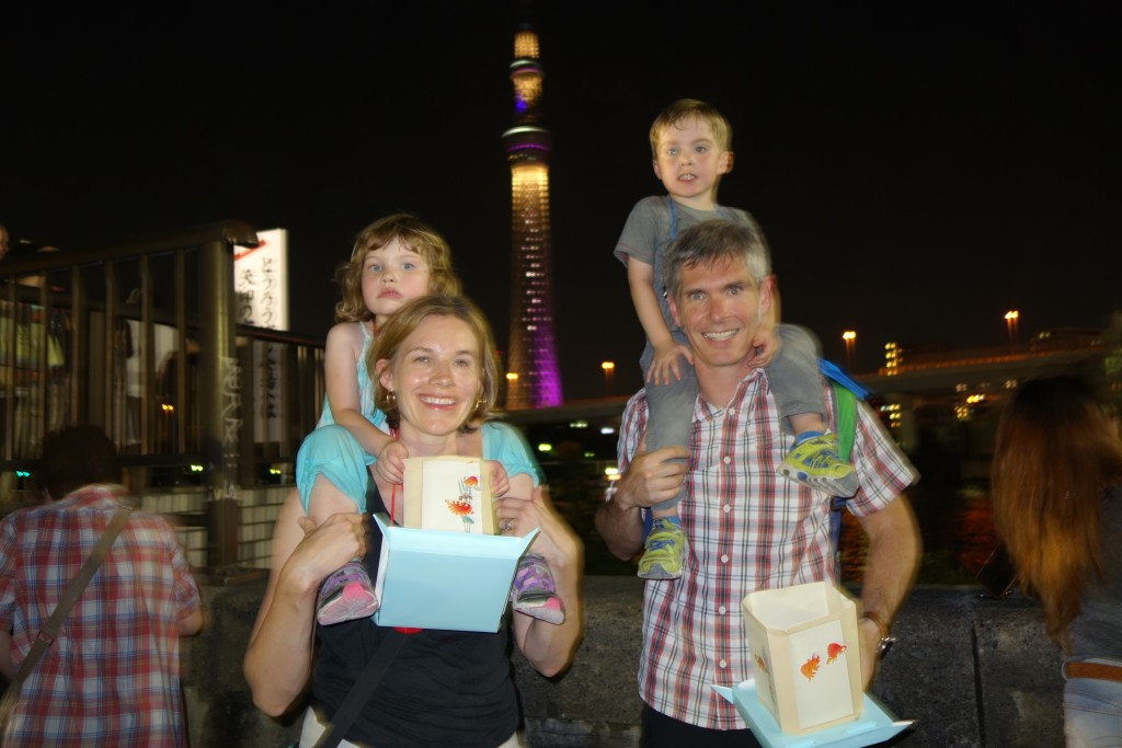 Family photo! The Tokyo Skytree is behind us.