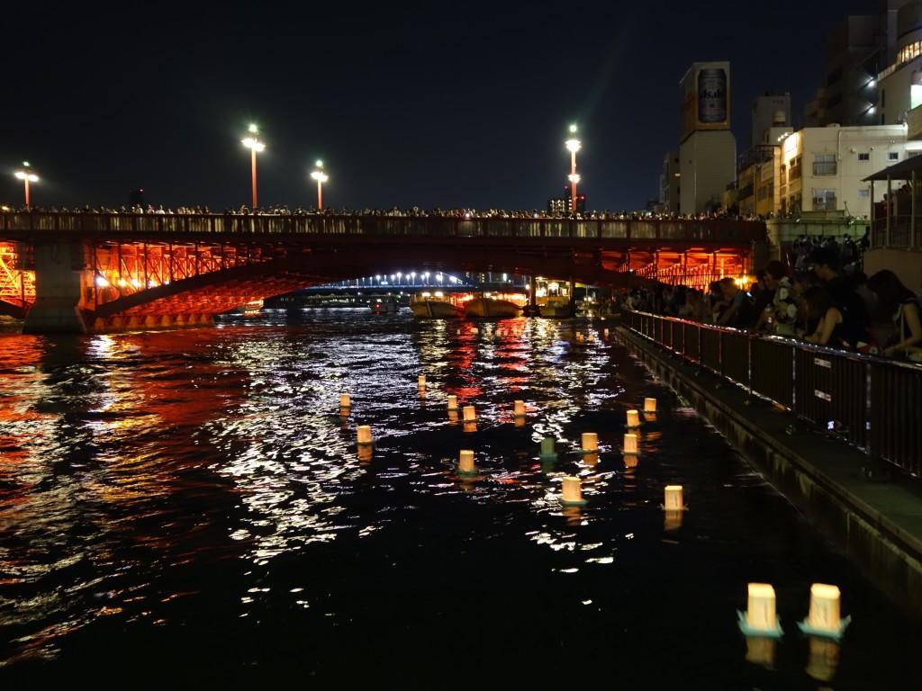 Lanterns heading down the river