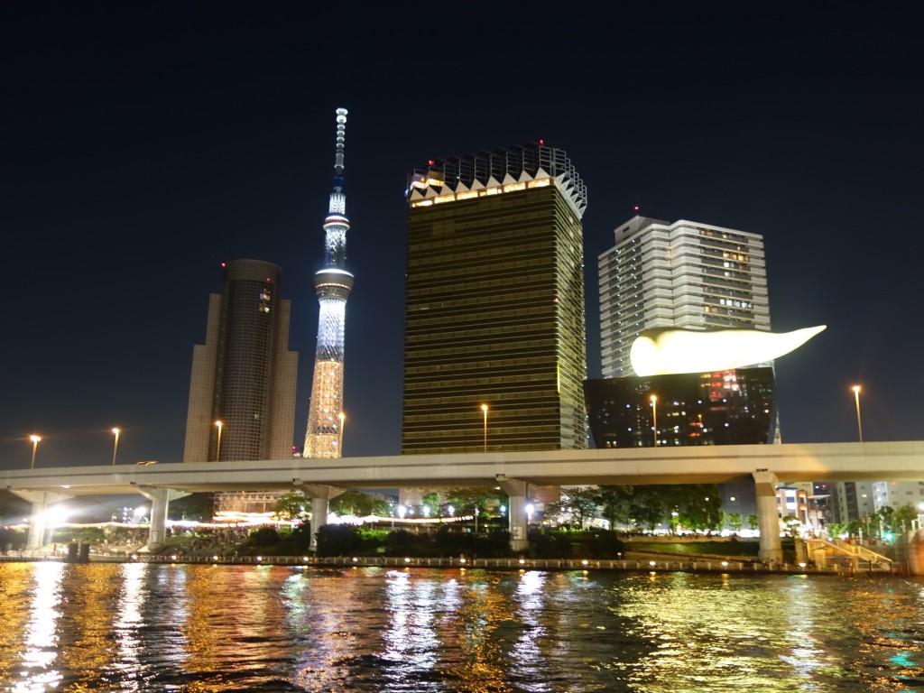 the asahi flame and tokyo skyline from Asakusa